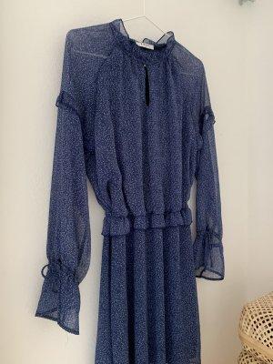 Pieces Szyfonowa sukienka stalowy niebieski-biały