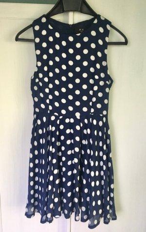 Sommerkleid Polka Dot Pünktchen  blau weiß Kleid Gr. 38