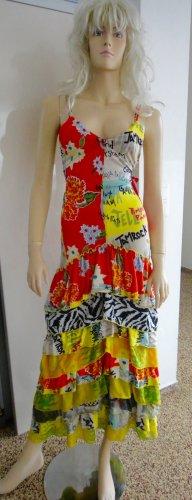Vestido estilo flounce multicolor Seda