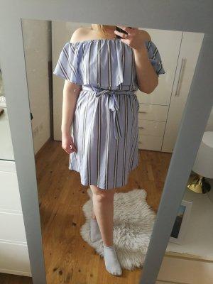 Sommerkleid schulterfrei blau weiß gestreift
