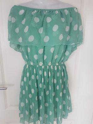 Sommerkleid/ Schulterfreies Kleid mintgrün