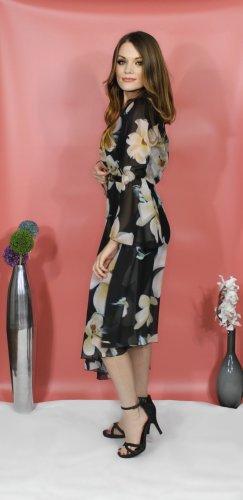 Sommerkleid schwarz mit Blumenprint, von italienische Designer-Marke Rinascimento