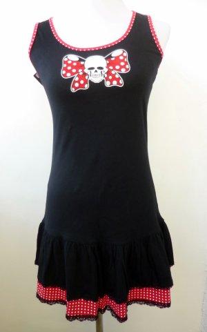 Sommerkleid schwarz rot weiss gepunktet Rockabilly Gothic S 36 38