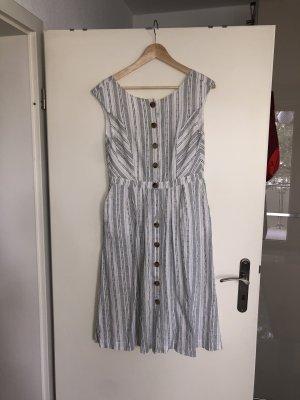 Esprit Robe mi-longue blanc-noir coton