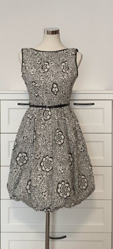 Maggy London vestido de globo blanco-negro tejido mezclado
