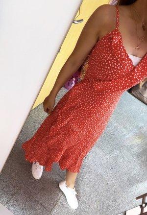 Abendkleid Wikkeljurk wit-rood