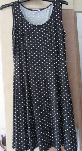 Sommerkleid Strandkleid Stretch getupft schwarz/weiß knielang