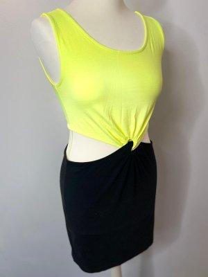 Hennes & Mauritz Vestido elástico amarillo neón-negro