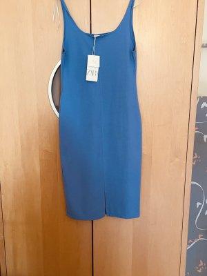 Zara Woman Abito scamiciato blu neon