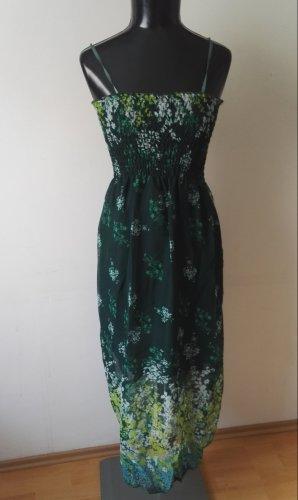 Sommerkleid Trägerkleid Maxikleid Kleid Gefüttert in Dunkelgrün mit Blütenm. Gr.36-38