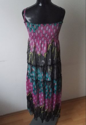 Sommerkleid Trägerkleid Maxikleid Kleid Gefüttert in Rosa/Türkis Gr.38-40