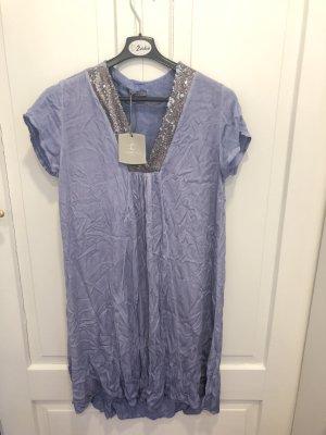 Sommerkleid / Tunika von CARINA RICCI - grau/blau mit Pailletten - NEU mit Etikett