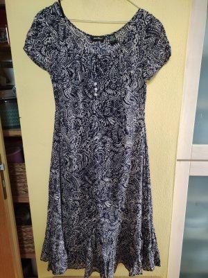 Eddie Bauer A Line Dress beige-dark blue cotton