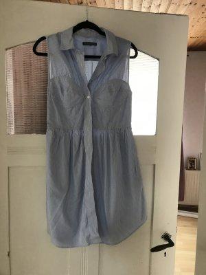 Alexa Chung Robe trapèze blanc-bleu azur coton
