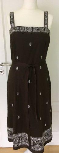 Ann Taylor Pinafore dress white-dark brown cotton