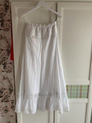 Sukienka z dekoltem typu bandeau biały Bawełna