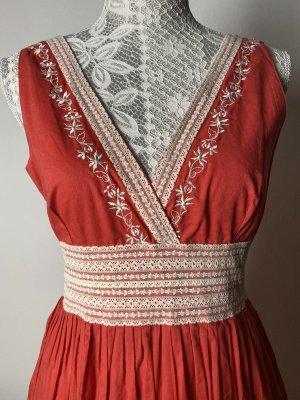 Derhy Summer Dress bright red-natural white cotton