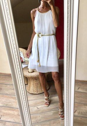 Robe chiffon doré-blanc