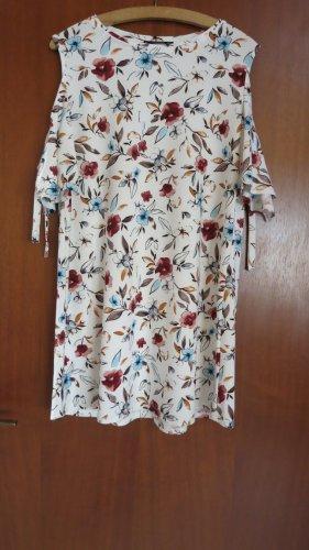 Sommerkleid weiß mit Blumen, Größe M, Mango