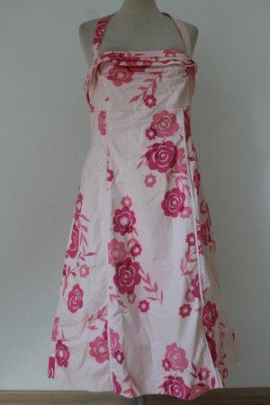 Sommerkleid weiß rosa Gr. 40 M L Oasis Kleid knielang Neckholderkleid