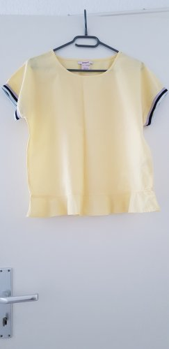 Manguun Short Sleeved Blouse pale yellow cotton