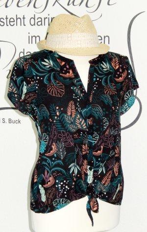 Sommerliche Bluse mit Knoten-Detail (tropisches Muster, 100% Viskose) - Neuwertig!
