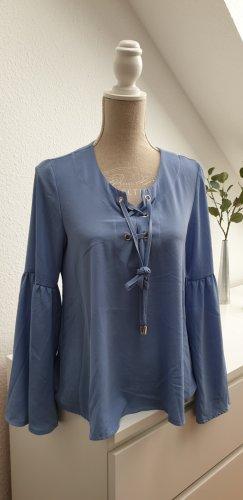 Sommerliche Boho Hippie Bluse Hellblau Gr. M