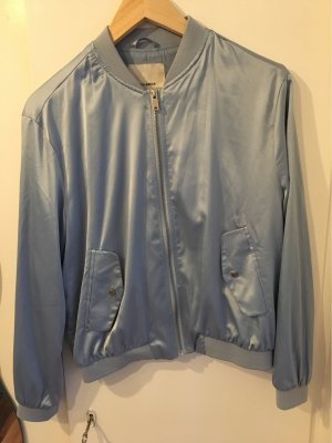 Pull & Bear Bomber Jacket azure-silver-colored