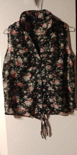 Sommerliche, halb transparente Bluse, ärmellos, Blumenmotiv