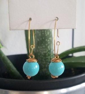 Sommerliche, handgemachte Creolen mit türkiser Perle (Goldfarben)