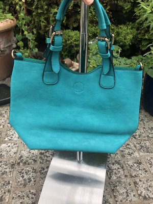 Sac Baril turquoise cuir