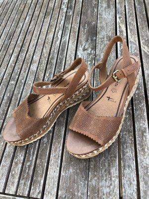 Tamaris Platform High-Heeled Sandal brown-white