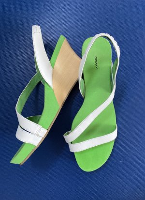 DKNY Wedge Sandals white-meadow green leather