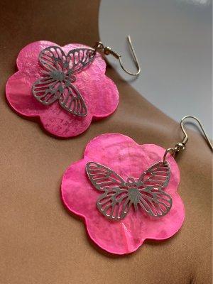 Dangle neon pink-silver-colored