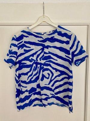 Axara Zijden blouse wit-blauw