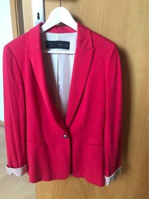 Zara Basic Veste de smoking rouge framboise viscose