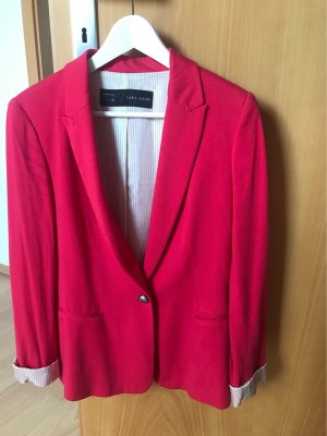 Zara Basic Tuxedo Blazer raspberry-red viscose