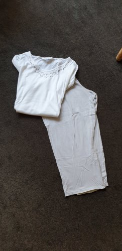 Pyjama silver-colored-white cotton