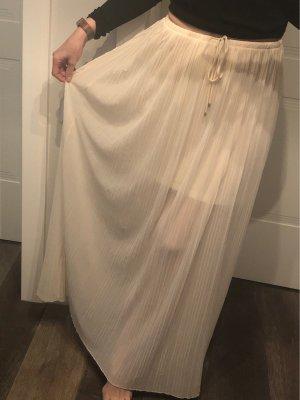 Massimo Dutti Plisowana spódnica kremowy