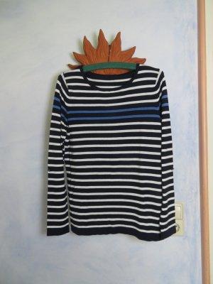Sommerlicher Streifen Pulli Viskose Pullover M  oversize Weiß Blau gestreift