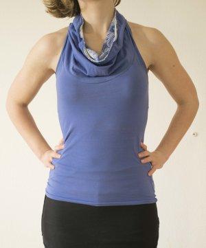 Camisa con cuello caído azul neón Algodón