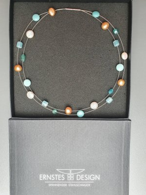 Collar estilo collier color plata-turquesa metal