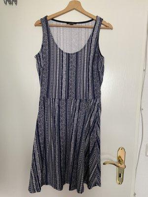 Esmara Vestido de Verano azul oscuro-blanco Algodón