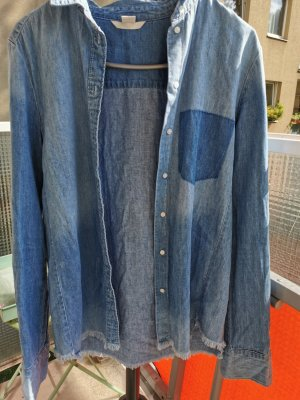 H&M Chemise en jean bleu acier-bleu pâle coton