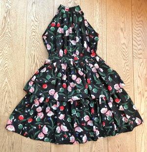 sommerliches Kleid  mit Blumen und Rüschen  Neckolder Stehkragen schwarz rot grün Gr ca 36- 38