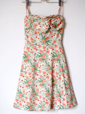 sommerliches Kleid mit Blumenprint, grün - orange - creme / beige, H&M, 34