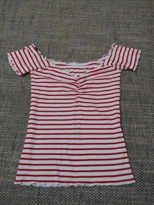 Koszula typu carmen biały-czerwony neonowy