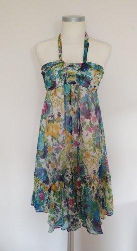 Sommerliches Seidenkleid mit Blumenmuster in Aquarelloptik
