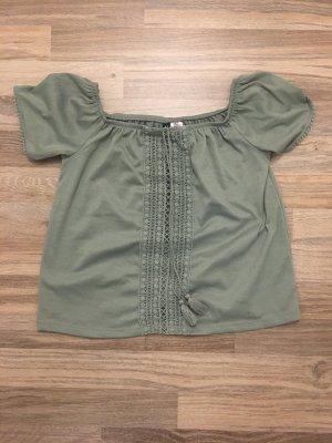 H&M Camisa tipo Carmen verde grisáceo