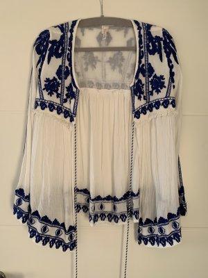 Raga Veste à franges blanc-bleu